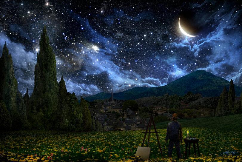 Винсент Ван Гог, звездная ночь, мольберт
